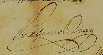 Firma del General Porfirio Diaz